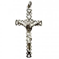Cruz crucifijo plata Ley calada cristo [2109]