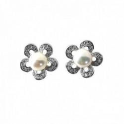 Pendientes plata Ley 925m flor 11mm. centro perla pétalos circonitas cierre presión