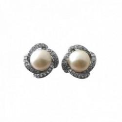 Pendientes plata Ley 925m 11mm. centro perla borde formas circonitas cierre presión