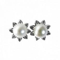 Pendientes plata Ley 925m flor 11mm. centro perla pétalos puntiagudos circonitas cierre presión