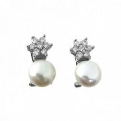 Pendientes plata Ley 925m rodiados 19mm. arriba estrella circonitas debajo perla cierre omega