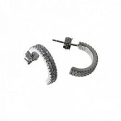 Pendientes plata Ley 925m rodiados medio aro 15mm. circonitas microengastadas cierre presión