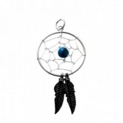 Colgante plata Ley 925m atrapasueños círculo 20mm. centro piedra bola azul plumas plata oxidada