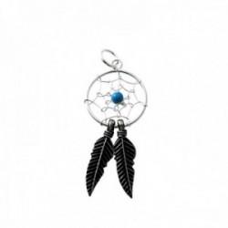 Colgante plata Ley 925m atrapasueños círculo 14mm. centro piedra bola azul plumas plata oxidada