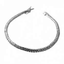 Pulsera plata Ley 925m rodiada 19cm. piedras circonitas 3mm. cuadradas cierre lengüeta