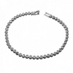Pulsera plata Ley 925m rodiada 17cm. piedras circonitas 3mm. redondas cierre lengüeta