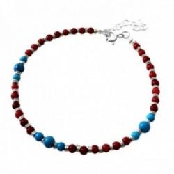 Pulsera plata Ley 925m piedras color rojizo azul cierre reasa