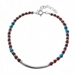 Pulsera plata Ley 925m piedras color rojizo azul centro barra lisa cierre reasa