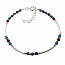 Pulsera plata Ley 925m piedras color rojizo azul barras lisas entrepiezas cierre reasa