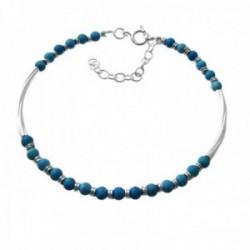 Pulsera plata Ley 925m piedras color azul barras lisas entrepiezas cierre reasa