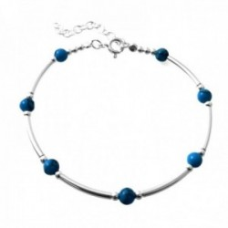 Pulsera plata Ley 925m bolas lisas piedras color azul barras lisas entrepiezas cierre reasa