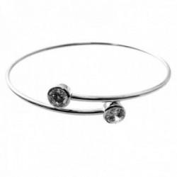 Brazalete plata Ley 925m pulsera rígida cruzada detalle puntas circonitas redondas