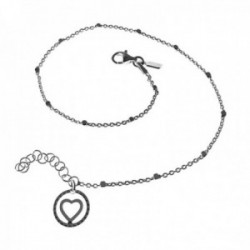 Pulsera tobillera plata Ley 925m cadena 23cm. combinada cuadrados final corazón 10mm. cerco calado