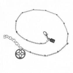 Pulsera tobillera plata Ley 925m cadena combinada 24cm. cuadrados final trébol 10mm. cerco calado