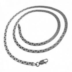 Gargantilla plata Ley 925m semirígida 45cm. grosor 3mm. lisa dibujo cierre mosquetón