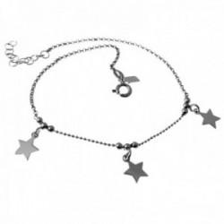 Pulsera tobillera plata Ley 925m rodiada cadena rolo 22cm. estrellas lisas colgando cierre reasa