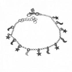 Pulsera plata Ley 925m infantil 16cm. estrellas lunas colgando lisas cierre mosquetón