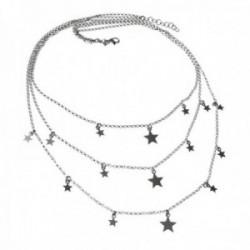 Gargantilla plata Ley 925m rodiada triple cadena rolo detalle estrellas colgando cierre mosquetón