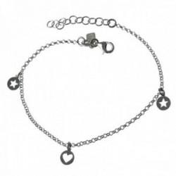 Pulsera plata Ley 925m rodiada 18cm. cadena rolo detalles corazón estrellas chapas caladas mosquetón