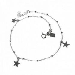Pulsera tobillera plata Ley 925m cadena combinada 23.5cm bolas estrellas lisas colgando cierre reasa