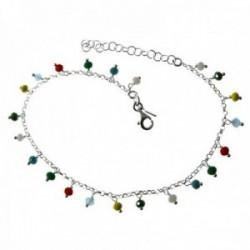 Pulsera tobillera plata Ley 925m cadena 20.5cm. bolas colores colgando cierre reasa