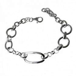 Pulsera plata Ley 925m mujer cadena lisa 19cm. motivo asas huecas cierre mosquetón