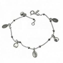 Pulsera plata Ley 925m cadena combinada 19cm. Virgen Milagrosa chatones circonitas colgando reasa
