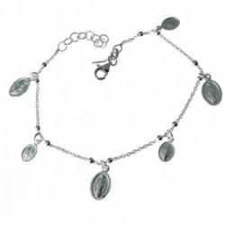 Pulsera plata Ley 925m cadena combinada 18cm. bolitas Virgen Milagrosa colgando cierre mosquetón