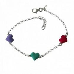 Pulsera plata Ley 925m infantil 17cm. cadena rolo corazones colores cierre mosquetón