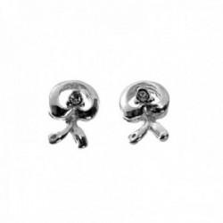 Pendientes plata Ley 925m símbolo indalo 10mm. centro piedra circonita cierre presión