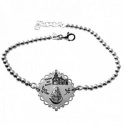 Pulsera plata Ley 925m cadena 17cm. bolas 3mm. detalle medalla Virgen del Rocío tallada cerco calado