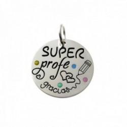 Colgante plata Ley 925m chapa 20mm. lunares colores esmaltados mensaje SUPER PROFE GRACIAS