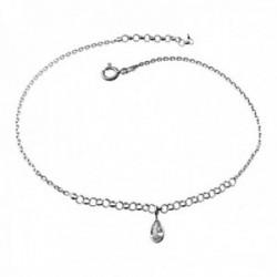 Pulsera tobillera plata Ley 925m cadena 22cm. detalle lágrima piedra circonita cierre reasa