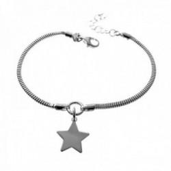 Pulsera plata Ley 925m cadena 17cm. cola de topo centro detalle estrella lisa colgando mosquetón