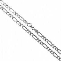 Cadena plata Ley 925m 50cm. alternada 3x1 hueca lisa cierre mosquetón