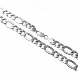 Cadena plata Ley 925m 60cm. alternada 3x1 hueca lisa ancho 9mm. cierre mosquetón