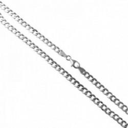 Cadena plata Ley 925m 50cm. modelo barbada hueca lisa cierre mosquetón