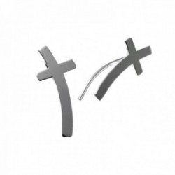 Pendientes plata Ley 925m trepador 18mm. forma cruz lisa