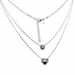 Gargantilla plata Ley 925m doble cadena corta 40cm. larga 42cm. chapa redonda corazón borde tallado
