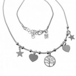 Gargantilla plata Ley 925m cadena coreana 43cm. estrellas corazones árbol de la vida colgando