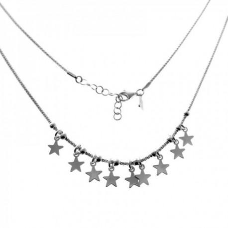 Gargantilla plata Ley 925m cadena coreana 43cm bolas entrepiezas estrellas colgando cierre mosquetón