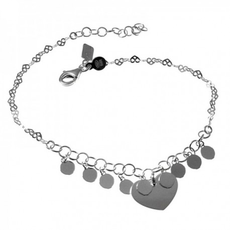 Pulsera plata Ley 925m cadena formas corazones calados 17.5cm. chapas corazón colgando mosquetón