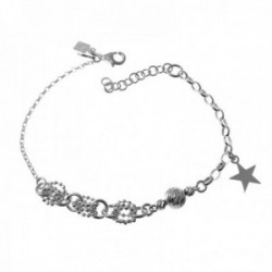 Pulsera plata Ley 925m cadena 16.5cm. diferentes formas motivo bola anillas bolitas estrella