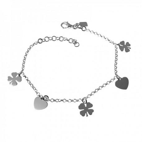 Pulsera plata Ley 925m cadena rolo 16cm. corazones tréboles cuatro hojas colgando lisos mosquetón