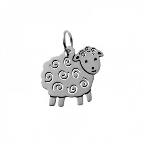Colgante plata Ley 925m oveja lisa 20mm. lisa detalles calados