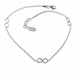 Pulsera tobillera plata Ley 925m cadena 23.5cm. detalle infinitos cierre mosquetón