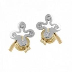 Pendientes Oro Blanco y Amarillo 18k modelo Comunión (8 Diamantes brillantes 1,20mm. 0,08cts.)