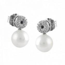Pendientes Oro Blanco 18k modelo Daniela (42 diamantes 1,1mm. 0,24 cts) (2 zafiros 1,75mm. 0,066cts)