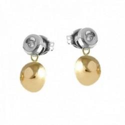 Pendientes Oro Amarillo y Blanco 18k modelo Comunión (2 Diamantes brillantes 1,75mm. 0,06cts.)