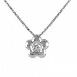 Colgante con cadena Oro Blanco 18k modelo Tu Diamante (1 diamante 2,00mm. 0,04 cts.) Colgante: 18mm.
